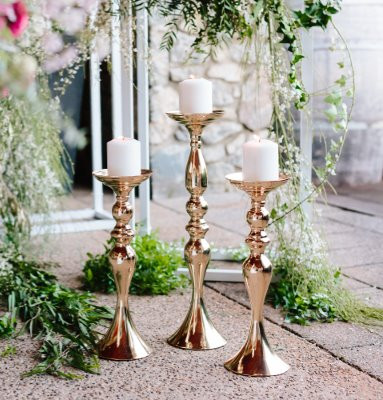 Polished Gold Pillar Candlestick