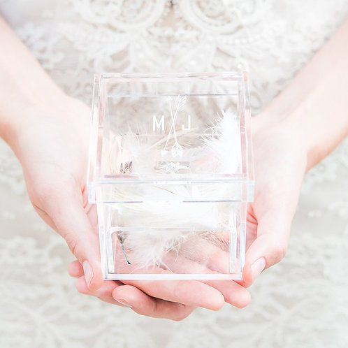 Feather Whimsy - Acrylic Wedding Ring Box