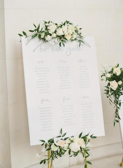 Seating Plan Signage Flowers