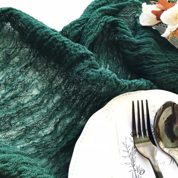 Emerald Green - Cheesecloth Table Runner