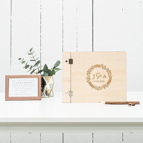 Love Wreath - Wooden Wedding Guest Book