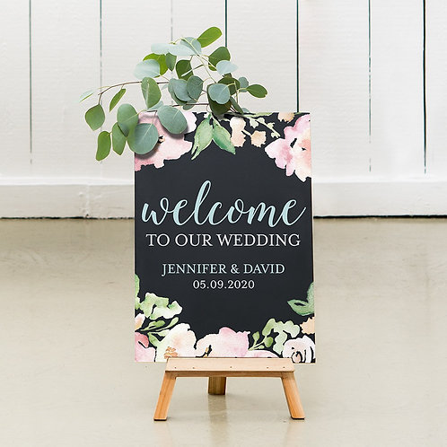 Welcome Floral - Wedding Chalkboard Sign