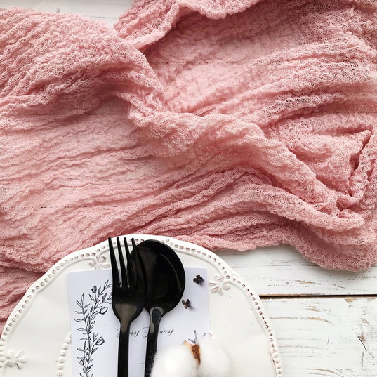 Rose Quartz - Cheesecloth Table Runner