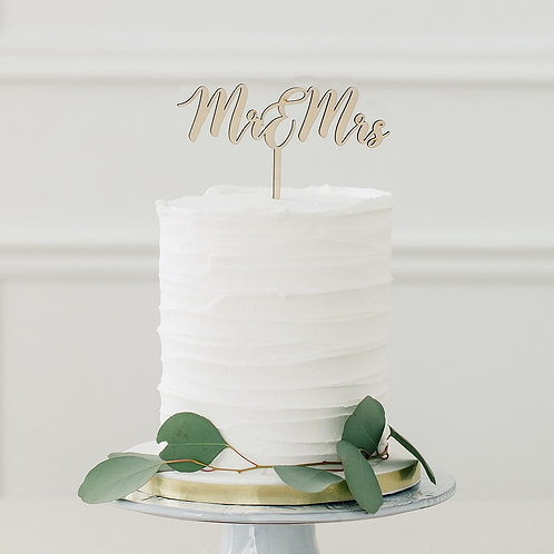 Mr and Mrs - Natural Wooden Cake Topper