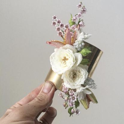 6cm Gold Flower Cuff Corsage- $60