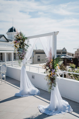 Classic White Wooden Wedding Arbour - Hire