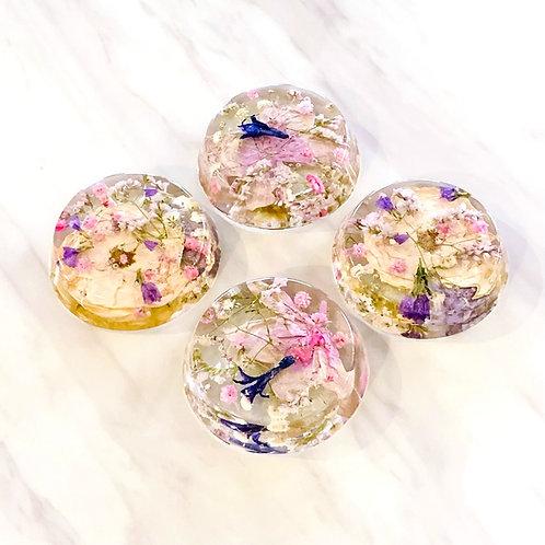 Pressed Flower Resin Disc