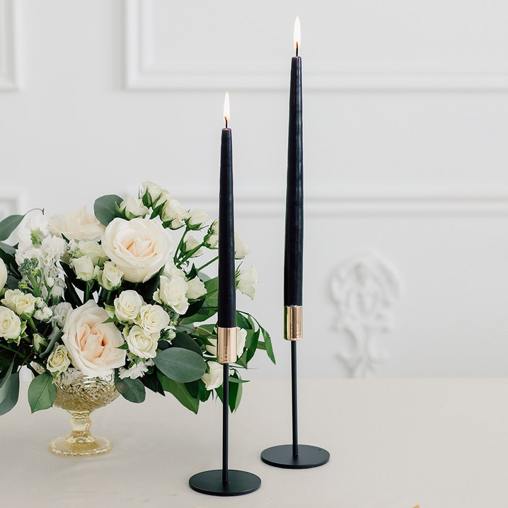Black and Gold Candlestick Set of 2 - Hire
