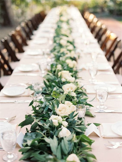 Wired Foliage Table Garland Runner - Hire