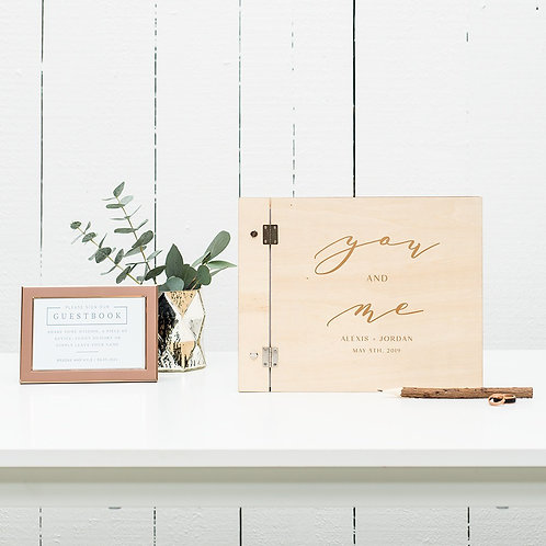 You and Me - Wooden Wedding Guest Book