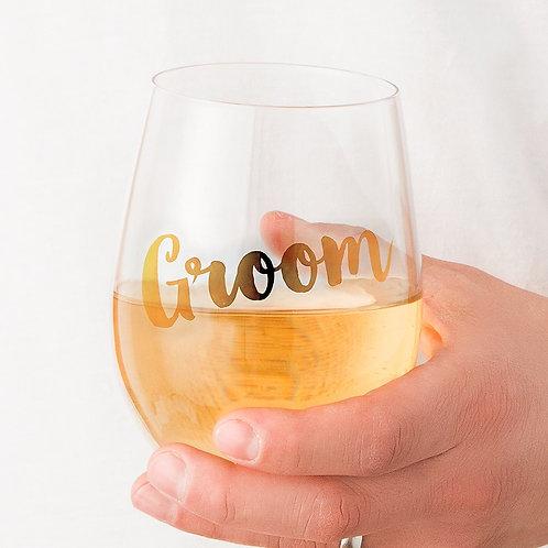 Groom - Stemless Wine Glass
