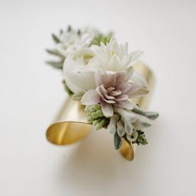 6cm Gold Flower Cuff Corsage - $60