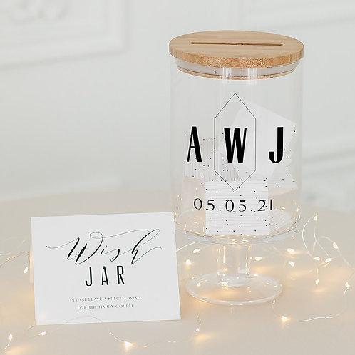 Geo Monogram - Personalised Glass Guest Book Jar