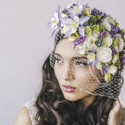 Round Veiled Floral Hat - $245