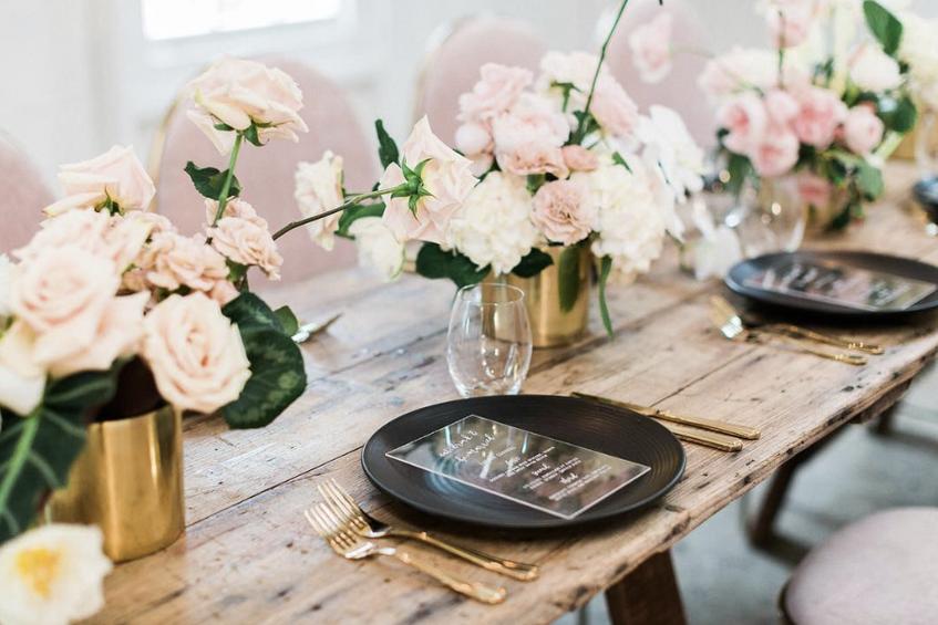 Gold Cylinder Flower Vases - Hire