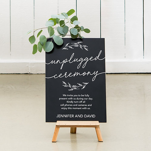 Unplugged - Wedding Chalkboard Sign