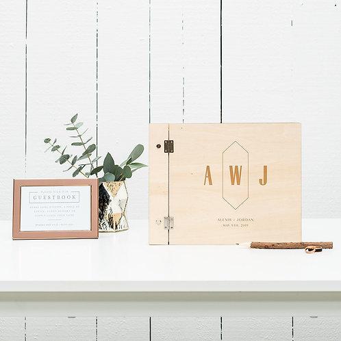Geo Monogram - Wooden Wedding Guest Book
