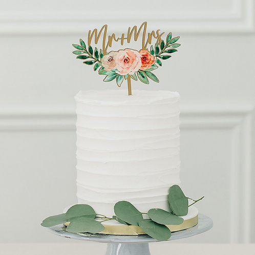 Floral Mr and Mrs - Natural Wooden Cake Topper