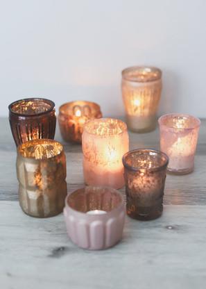 Set/8 Blush Gold Tea Light Holders - Hire