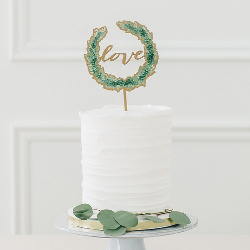 Foliage Love Wreath - Natural Wooden Cake Topper