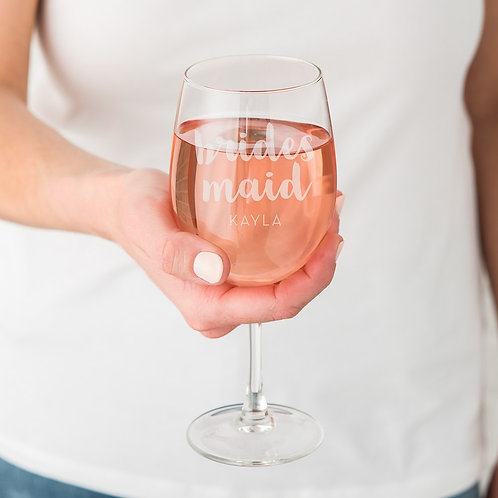 Bridesmaid - Large Personalised Wine Glass