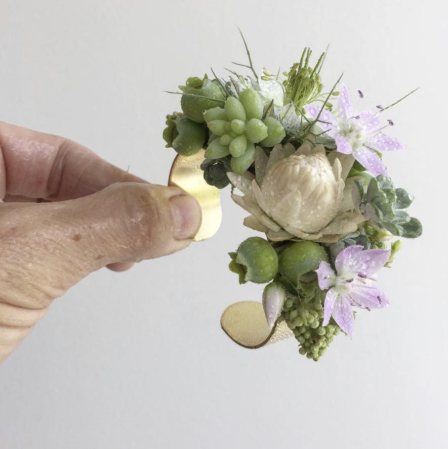 2cm Gold Flower Cuff Corsage - $45