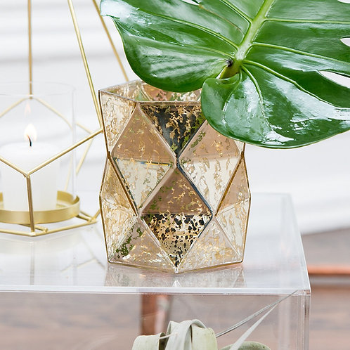 Gold Geometric Mercury Glass Vase