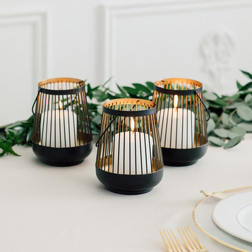 Large Black and Gold Geometric Lantern - Hire