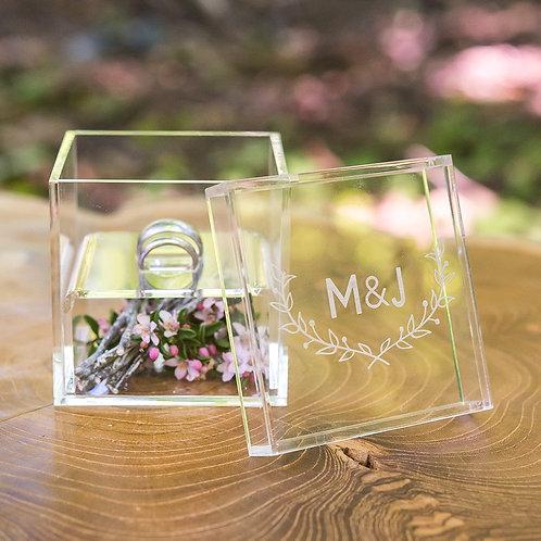 Woodland Leaf - Acrylic Wedding Ring Box