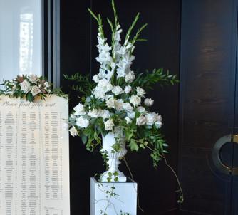 Classic White Rose Urn - Hire
