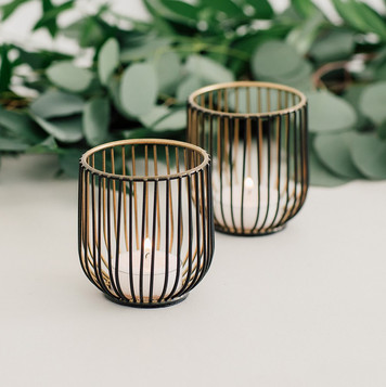 Geometric Black and Gold Wire Tea Lights - Hire