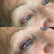 Eyelash Enhancement Tattoo before and af