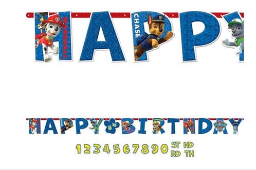 Paw Patrol Happy Birthday Banner change age