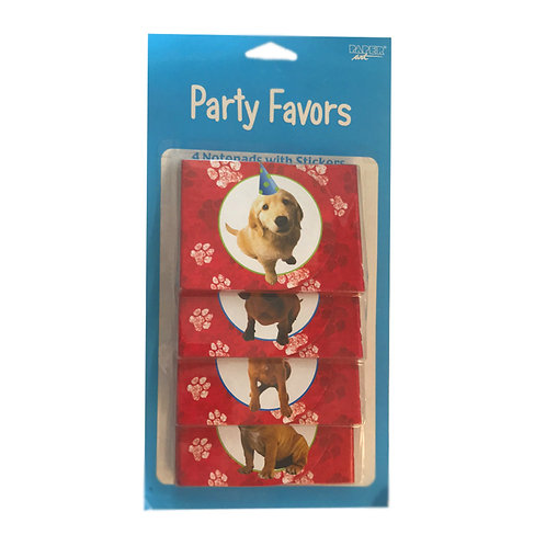Party Pups themed Party Favors pack of 4 notepads with stickers