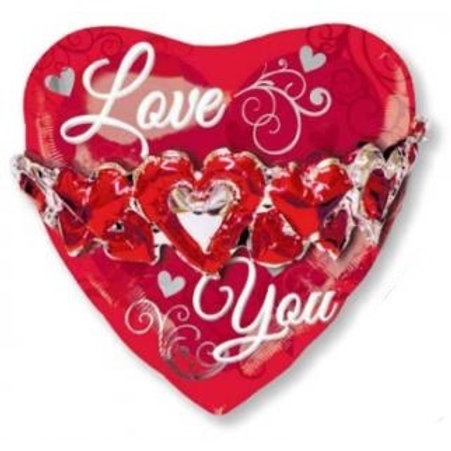 Valentines Day  LOVE YOU foil balloon heart shaped 58 cm uninflated