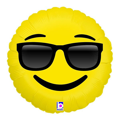 Emoji Emoticon face Cool Sunglasses foil balloon 46 cm uninflated