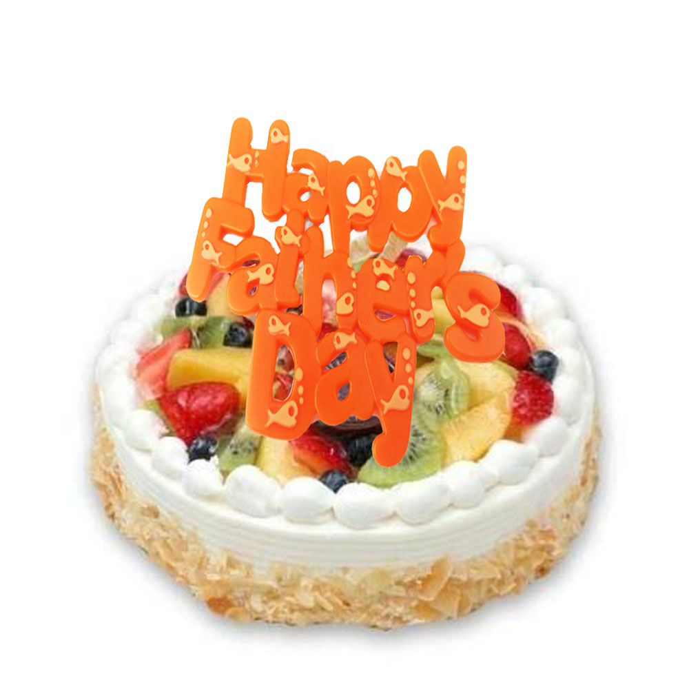 Decorate a fruit flan or cheescake with a Happy Fathers Day cake plaque
