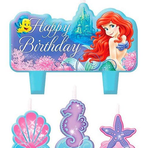 1x Set of Disney Princess ARIEL birthday party candles - set of 4