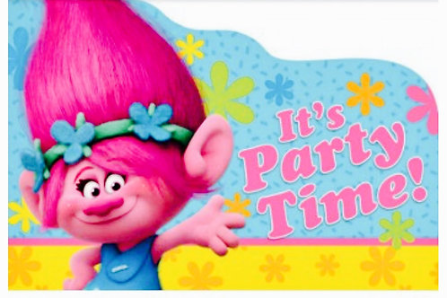 Trolls party invitations pack 8 envelopes + seals