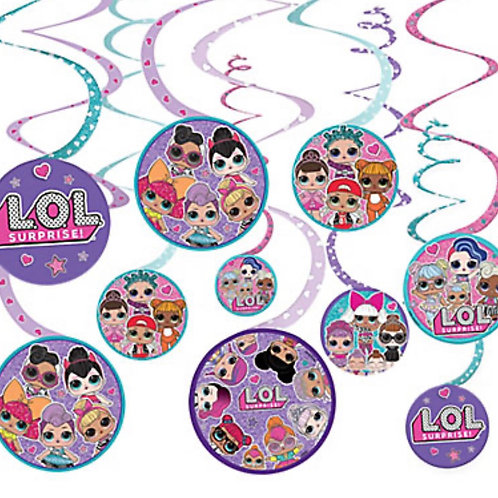 1 x pack 12 LOL Surprise birthday party swirls hanging decorations