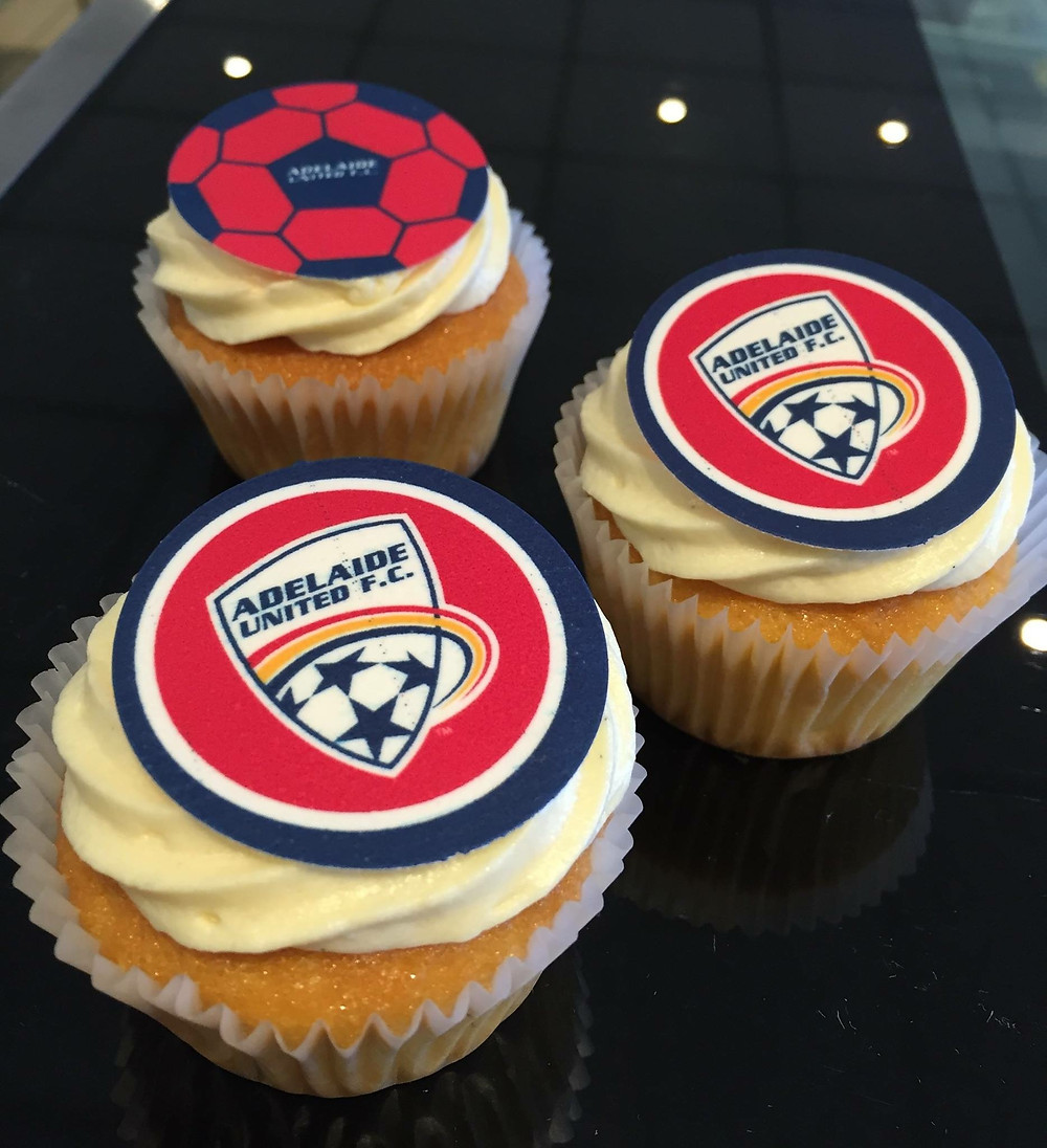 Are you an Adelaide United Soccer Club fan ? show it on your cupcakes at your next party !