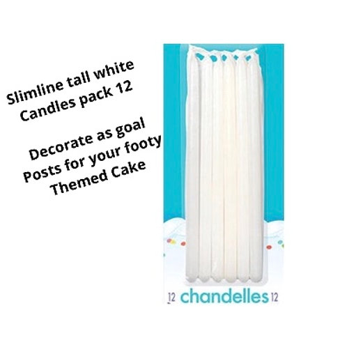 White Candles | Tall candles | Football cake decorations | football goal candles | 24-7 Party Paks