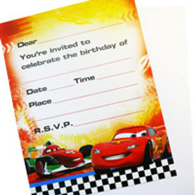 Disney Cars birthday party invitations pack 8 | ON SALE AU $2 | 24-7 Party Paks online shop