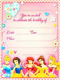 Disney Princess birthday party invites pk 8
