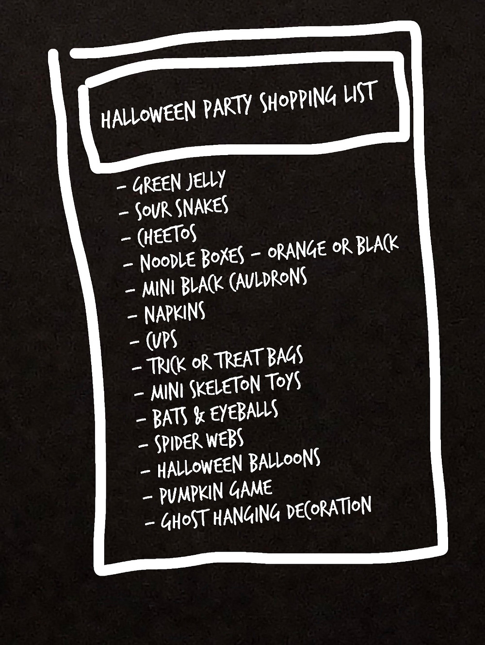 halloween party shopping list ideas