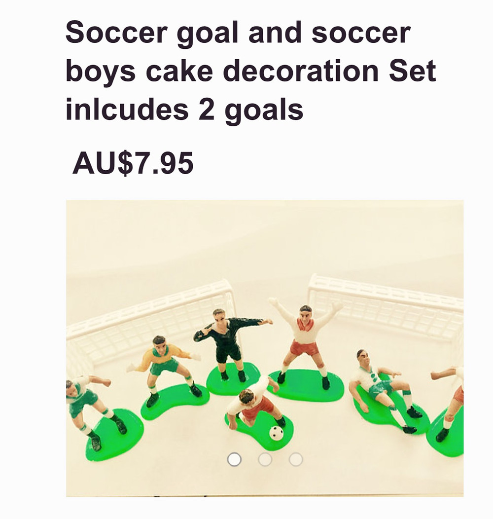 Soccer goals and player figurines Cake decoration kit  AU $7.95