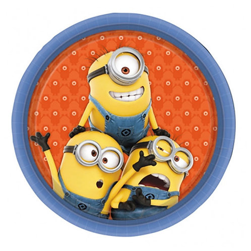 Minions birthday party plates round 23 cm pack 8   24-7 Party Paks