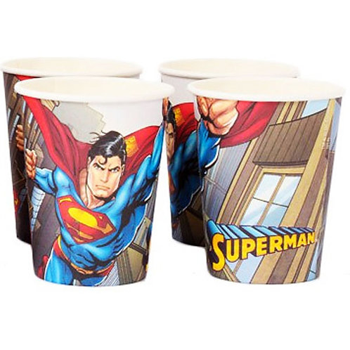 Superman party cups disposable pack 8