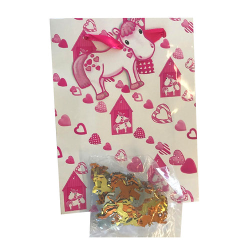 Pink Pony Party Bags pack of 7 with sachet of horse confetti