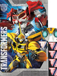 Transformers party game for 8 players includes poster and blindfold with Transformers stickers